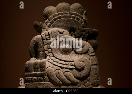 Aztec, Mexica, fire serpent god Xiuhcoatl statue found in the the Templo Mayor, National Museum of Anthropology - Stock Photo