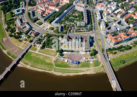 Aerial view, Football World Cup 2010, public screening at the river Elbe in Dresden, Saxony, Germany, Europe - Stock Photo