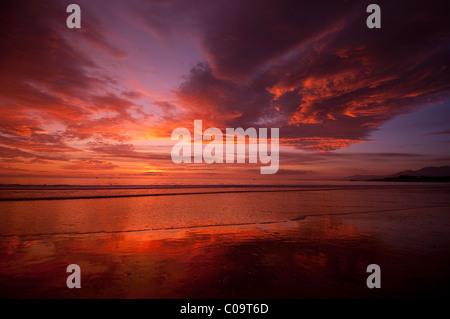 Sunset at west facing beach near Santa Barbara Central California coast - Stock Photo