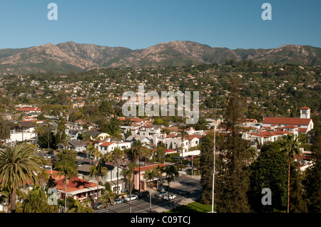 View of city of Santa Barbara in the foothills of the Santa Ynez Mountains on the Central Coast of Southern California - Stock Photo