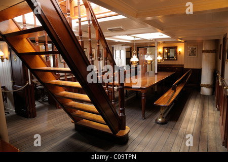 Officer's mess, museum ship, Rickmer Rickmers, Hamburg, Germany, Europe - Stock Photo