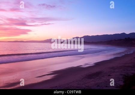Rincon Beach sunset California coast near Carpinteria Santa Barbara Southern California USA - Stock Photo