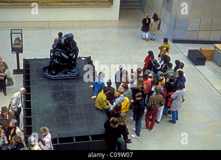 students, tourists, visitors, visiting, Musee d'Orsay, Orsay Museum, Paris, France, Europe - Stock Photo