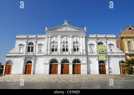 Theatre, national monument, historic building, Plaza Arturo Prat square, Iquique, Norte Grande, Northern Chile, - Stock Photo