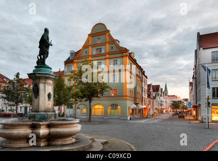 Fountain for Emperor Ludwig of Bavaria, Paradeplatz square and Ludwig street, Ingolstadt, Upper Bavaria, Bavaria - Stock Photo