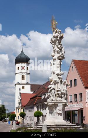 Plague column or Holy Trinity column, Wallerstein, Noerdlinger Ries region, Schwaben, Bavaria, Germany, Europe - Stock Photo