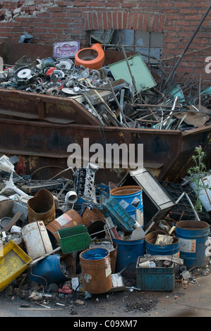 Scrap, metal collection, full skip - Stock Photo