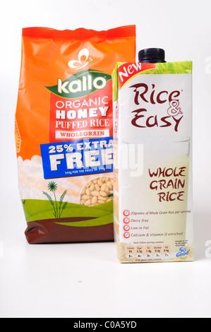 Organic Honey Puffed Rice and Rice and Easy Wholegrain Liquid. - Stock Photo