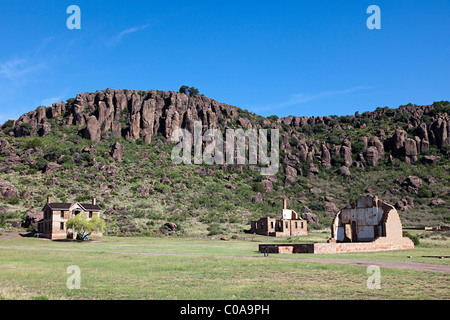 Buildings at Fort Davis National Historic Site Texas USA - Stock Photo