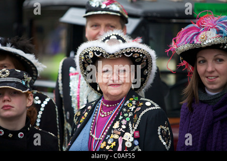 Pearly King and Queens at The New Years day Parade London - Stock Photo
