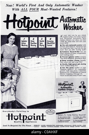 Original 1950s full page advertisement in American consumer magazine for HOTPOINT automatic washing machine - Stock Photo