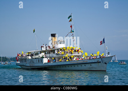 Swiss lake steamers on Lake Geneva by the town of Rolle - 3 - Stock Photo