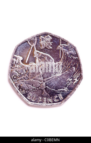 A fifty pence 50p coin from English currency on a white background - Stock Photo