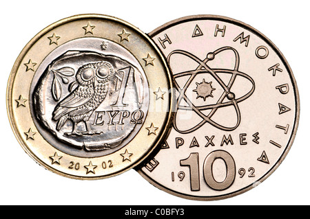 Greek 1 Euro coin from 2002 and 10 Drachma coin from 1992 - Stock Photo
