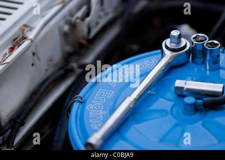Tools on Rotary Engine Air Filter. Car Repair, mechanic. - Stock Photo