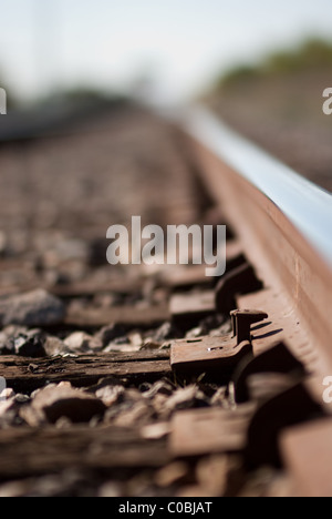 Train tracks, railroad. - Stock Photo