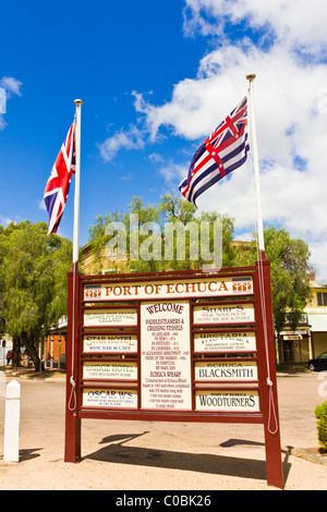 Union Jack and Murray River Flags flying together in Echuca, Australia - Stock Photo