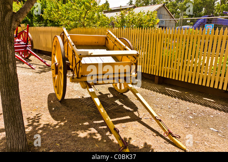 Old wooden log carts in Port of Echuca - Stock Photo
