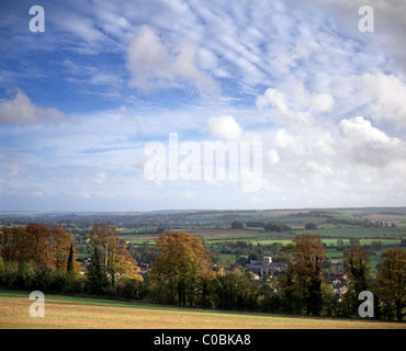 An autumn view of the Wylye Valley in Wiltshire, England, including the village of Heytesbury. - Stock Photo