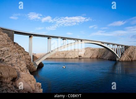 Paski bridge on croatian island Pag - Stock Photo