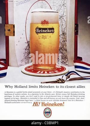 Advertisement in Punch magazine 3rd November 1965 for HEINEKEN lager beer - Stock Photo