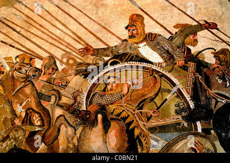 Persian King Darius III battle with Alexander  the Great Issus 331 B. C . Mosaic Pompeii 100 BC This image is Darius - Stock Photo