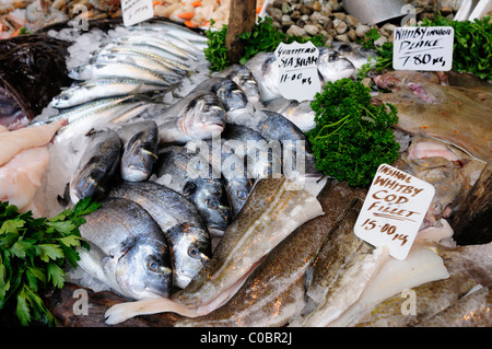 Fishmonger's Stall display at Borough Market, Southwark, London, England, UK - Stock Photo