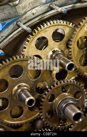Close-up of gears on the front of a radial aircraft engine - Stock Photo