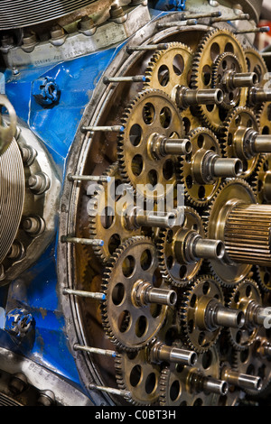 Planetary gearbox on a large radial piston aircraft engine - Stock Photo