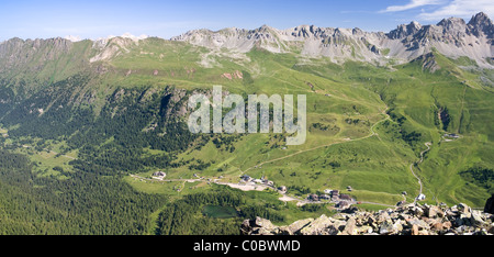 Aerial view of San Pellegrino pass, Trentino, Italian Dolomites - Stock Photo