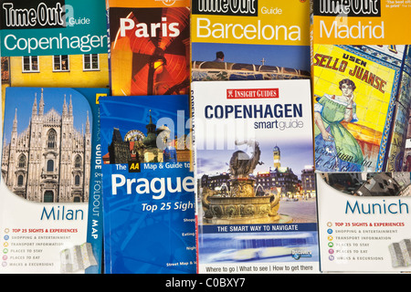 Travel guide books for Europe - Stock Photo