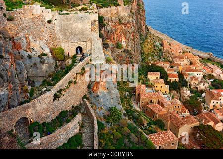 Partial view of the 'castletown' of Monemvasia, Lakonia, Greece. - Stock Photo