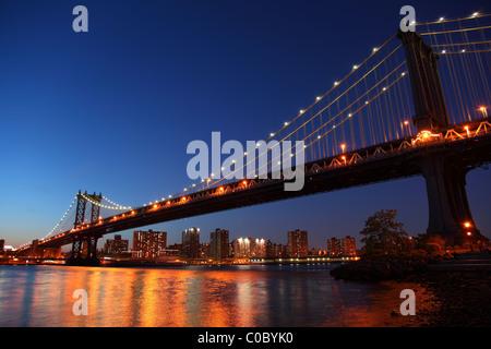 Sunset over historic manhattan Bridge in New York City