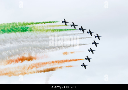 Flying Display by Il Frecce Tricolori. Aemacchi MB339A of Italian Air Force Aerobatic Team from Rivolto - Stock Photo