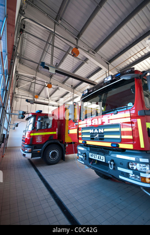 Marshes End Fire Station, Dorset Fire and Rescue Service, Poole fire engine garage - Stock Photo