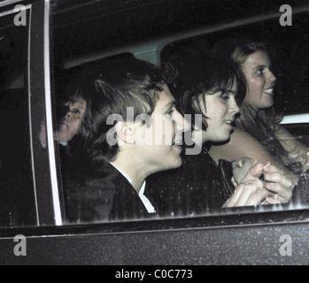 Princess Beatrice and Princess Eugenie leaving Mahiki Club London, England - 03.04.08 - Stock Photo
