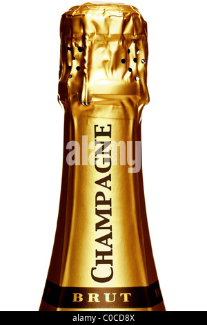Photo of the top of a Champagne bottle, isolated on a white background. - Stock Photo