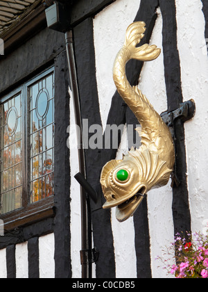 Sign outside Ye Olde Dolphin Inn in the city of Derby England UK which dates from 1530 - Stock Photo