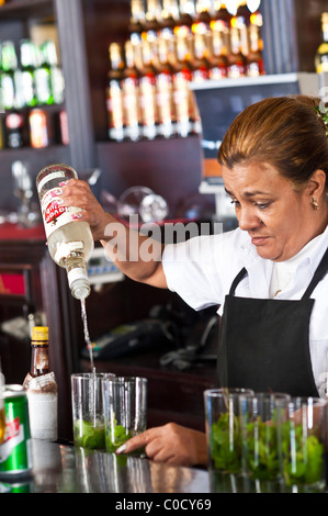 mixing creating Mojitos  Cocktail Bar Old Havana Cuba - Stock Photo