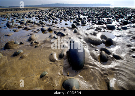 rounded pebbles in the sand at Northam Burrows on the North Devon coast - Stock Photo