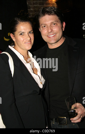 Tracy Emin with Kenny Goss (George Michael's partner) at the private view of 'Deliverance', an exhibition at space - Stock Photo