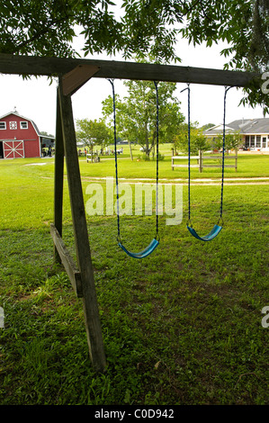 swing set in yard of farm North Florida - Stock Photo