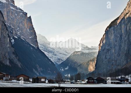 Lauterbrunnen valley in Swiss Alps - Stock Photo