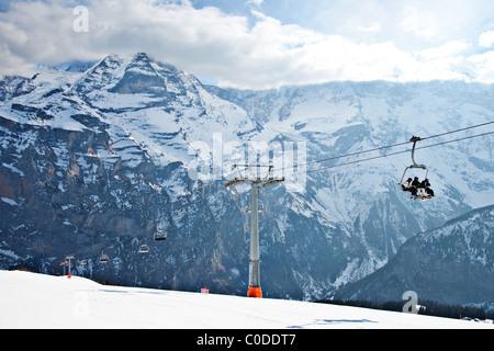 Ski lift in Murren, Switzerland - Stock Photo