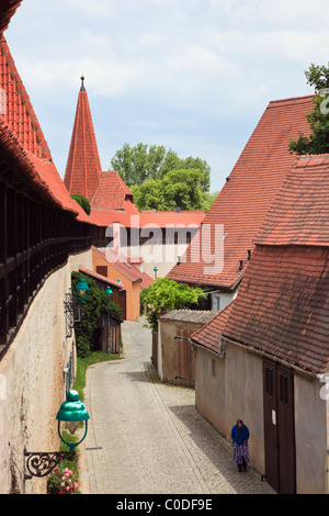 Nördlingen, Bavaria, Germany. View from 14th century town walls walk with cobbled street in medieval Altstadt on - Stock Photo