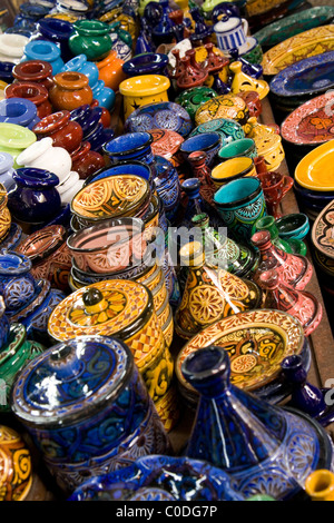 Typical Moroccan pottery on the market in the new Medina in Casablanca - Stock Photo