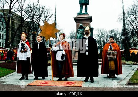 daily life Helsinki,Christmas street theater performance - Stock Photo