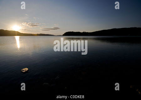 Sunset over Loch Ewe from Poolewe - Stock Photo