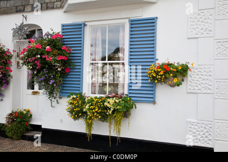 Colorful flowers in hanging Baskets and window box in Dartmouth, Devon. - Stock Photo