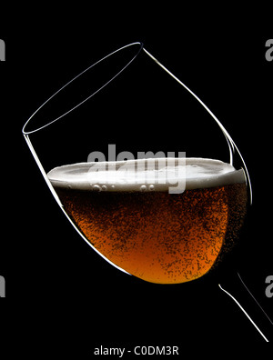 A big glasses full of beer with bubbles and foam - Stock Photo